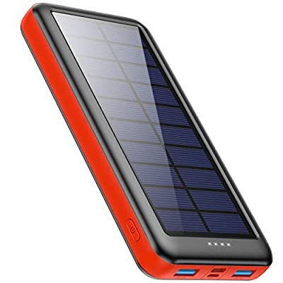 Pxwaxpy Solar Power Bank 26800mAh, Solar Charger 【Type C & Micro USB Input】 High Capacity Portable Charger Fast Charge External Battery Pack with 2 Outputs Compatible for Smartphones, Tablets - Red