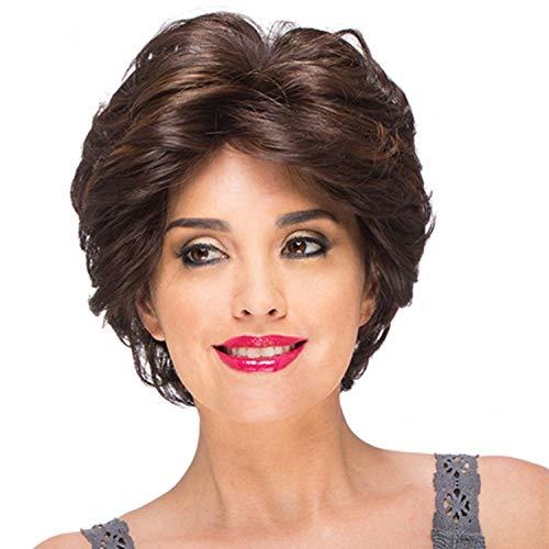 Cheveux courts bouclés brun foncé, 25 cm, cheveux artificiels, soie haute température à fibres chimiques, utilisés quotidiennement par les femmes