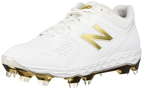 New Balance Women's Fresh Foam Velo V1 TPU Molded Softball Shoe, White/Gold, 11 M US