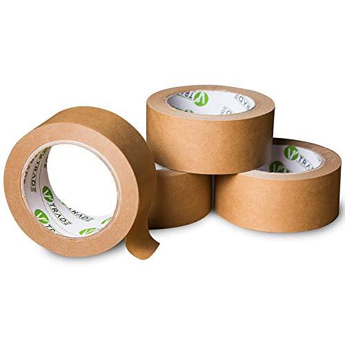 V1 Trade - Papier Klebeband, Papier Packband Braun, biobasiertes Material Eco Packing Tape, Naturkautschuk (48 mm x 50 m (3 Stück))