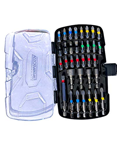 Barbarossa Screwdriver Bit Set with 35 Multi-Size Colour Coded Screw Bits, Electroplated Steel, Magnetic Bit Holder Phillips (50mm x PH1, 2, 3 and PZ1, 2, 3), Case Included, Magnetic Driver Kit