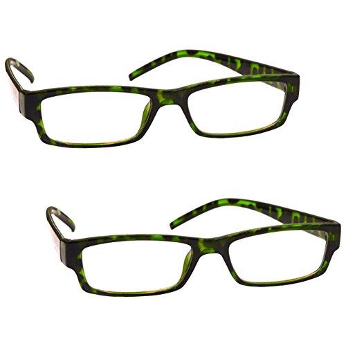 The Reading Glasses Company Die Lesebrille Unternehmen Grüne Schildpatt Leser Wert 2er-Pack Frauen Damen UVR2PK009 +1, 00 / Grüne Schildpatt