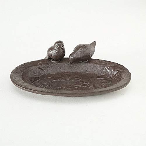 CasaJame Vogeltränke Schale mit Blattornamenten und Vögeln 19x15x5cm aus Gusseisen