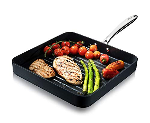 Nonstick Stove Top Grill Pan - PTFE/PFOA/PFOS Free 11' Hard-Anodized Non stick Grill & Griddle Pan - Kitchen Cookware ,High Ridges, Strong Riveted Handles, Dishwasher Safe - NutriChef NCGRP38