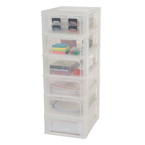 Iris Organizer Chest OCH-2006 Schubladencontainer-/ schrank, Kunststoff, frostweiß / transparent, 35,5 x 26 x 72,5 cm