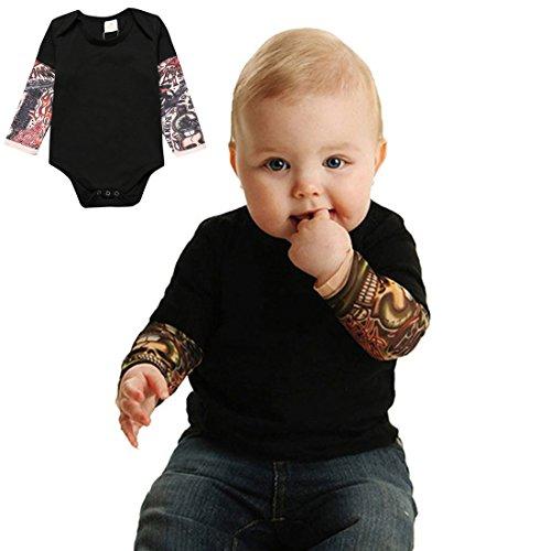 Pauboli - Body con finto tatuaggio sulle maniche, per neonato, 3-24 mesi, colori grigio e nero Nero 6-12 Mesi