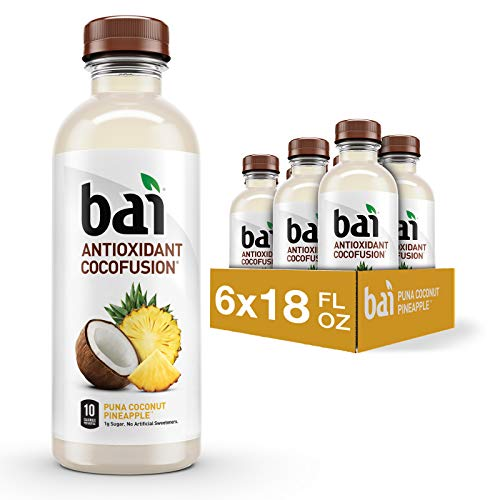 Bai Coconut Flavored Water, Puna Coconut Pineapple, Antioxidant Infused Drink, 18 Fluid Ounce Bottle, 6 count