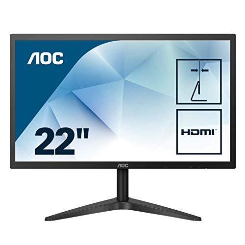 AOC 22inch IPS Ultra Slim Frameless Monitor - FUll HD, VGA, HDMI, Low Blue Mode, VESA Mount, 22B1HS 3 Yr Warranty