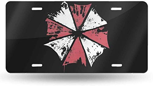 JUCHen Resident Umbrella Evil Corp Symbol License Plate Auto Truck Front Tag Metal License Plate Cover Frame for Car 6'x12'