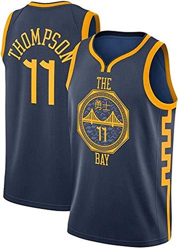 MMQQL NBA Jerseys, Golden State Warriors Thompson # 11 Camisetas De Baloncesto, Tela Transpirable Fresca Camisa De Entrenamiento Unisex Ventilador Sin Mangas,Negro,S