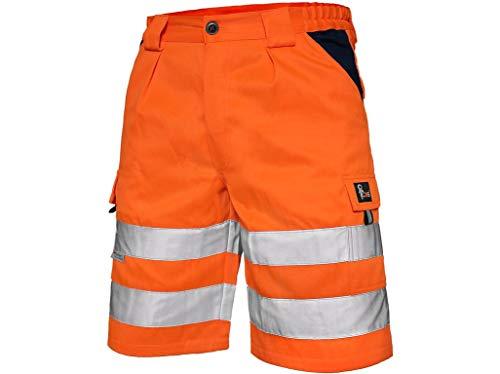 CXS Arbeitsshorts Norwich high Visible, Warnschutz Shorts Visible, Kurze Arbeitshose in Signalfarbe, Kurze Warnschutzhose mit Reflektionsstreifen, Orange, 58