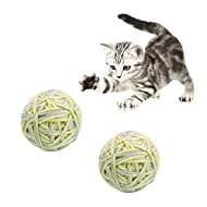 Andiker Cat Yarn Balls, Wool String Cat Balls with Bell, Interactive Cat Toys for Indoor Cats Chewin...