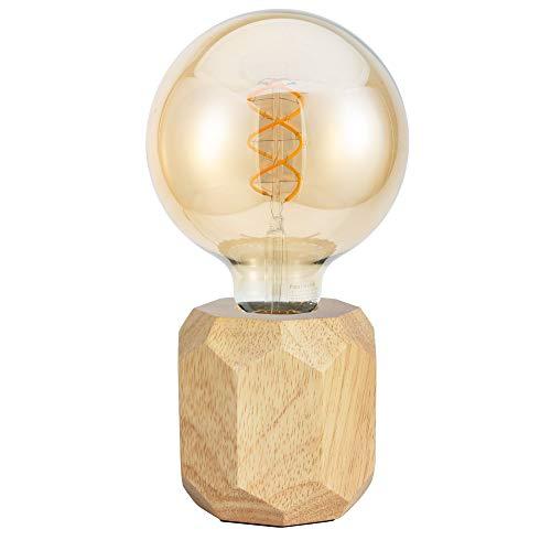 Pauleen 48159 Woody Sparkle Tischleuchte aus Holz skandinavische Tischlampe Würfellampe max25W E27 Holz 230V