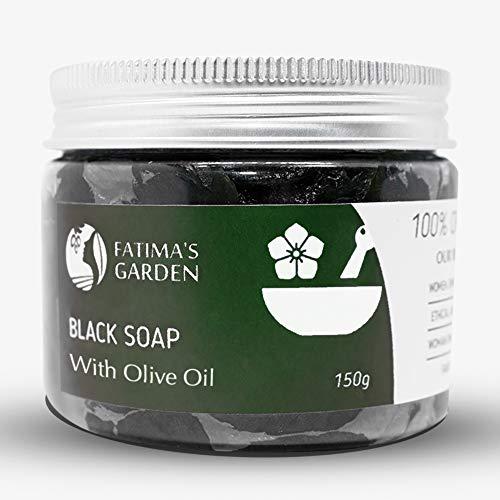 Fatima's Garden Schwarze Seife (Beldi-Seife) mit Olivenöl | 100% natürliche marokkanische schwarze Seife, Körperpeeling, rein & natürlich, reinigend, Peeling für das Hammam-Ritual-150gr