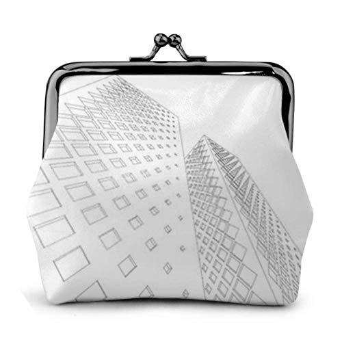 Monedero Fachadas geométricas abstractas Edificios Ilustración 3D Hebilla Monedero de Cuero Bolsa Llavero Monedero Kiss-Lock Monedero Monedero Monederos