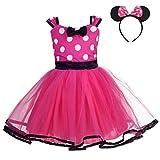 Lito Angels Disfraz de Minnie Mouse para Niña con Orejas de Ratón Aro de Pelo, Vestido de Tul con Lunares de Fiesta Cumpleaños Carnaval, Talla 4-5 años, Rosa Caliente