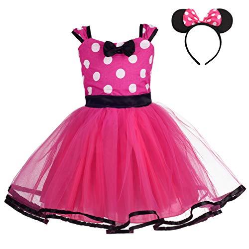 Lito Angels Mädchen Minnie Kleid Prinzessin Polka Dots Ankleiden Kostüm Tutu Kleid Geburtstag Weihnachten Halloween Verkleidung Party Outfit mit Haarband Größe 3-4 Jahre Heißes Rosa