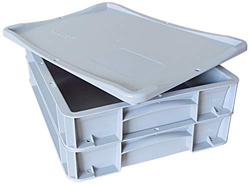 2x Pizzaballenbox + 1x Auflagedeckel, Pizzaballenbehälter, Pizzateigbehälter, Hefeteig Behälter, 400 X 300 X 70mm