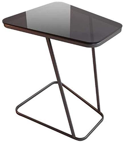 Mesa auxiliar, mesa auxiliar, mesa de centro, mesa de sofá, mesa de sofá pequeña de acero al carbono en forma de C, sala de estar de vidrio templado, balcón, mesa de lectura de café, 52 * 45 * 61 cm