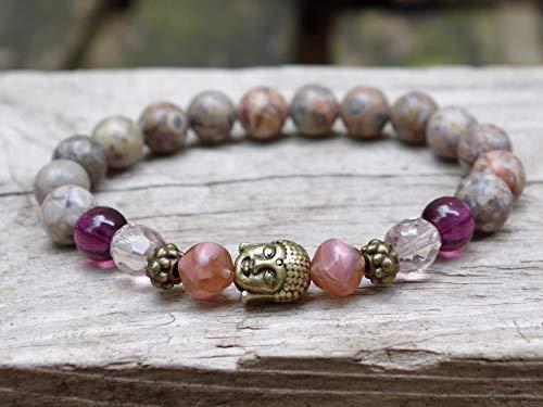 Armband mit Maifalite, Buddha & böhmischen Glasperlen - braun, grau, hellbraun, pflaume, lila, aubergine. altrosa, bronze/Buddhaarmband, Halbedelsteine, Yoga - Yogaarmband, SHIVA