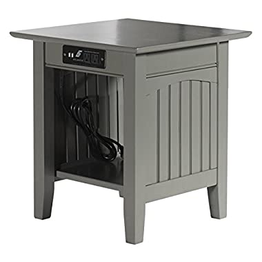 Leo & Lacey End Table with Charger in Grey