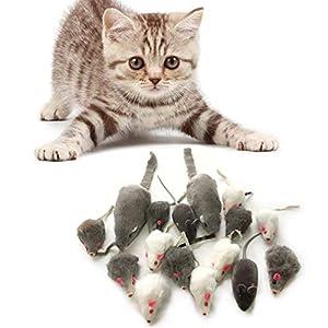 PietyPet Juguetes para Gatos, 16 Piezas Peludo Ratones sonajero pequeño Ratón Gato Gatito Interactivo, Colores Variados