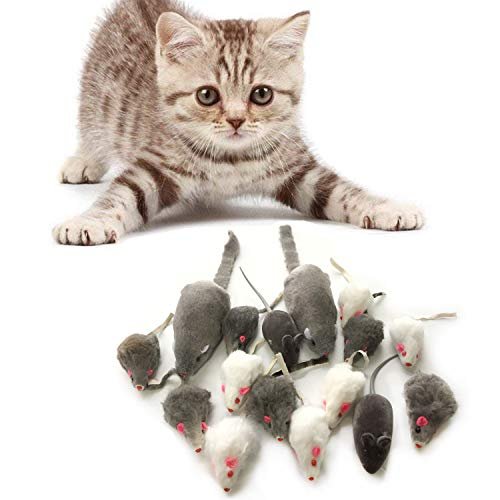 PietyPet Cat Mouse Toys Rattle Furry Cat Mice Pet Toys with Rattles for Pet Cat Kitten, 16pcs
