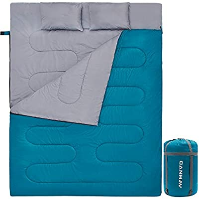 CANWAY Double Sleeping Bag with 2 Pillows, Waterproof Lightweight 2 Person Sleeping Bag for Camping,Backpacking, Hiking Outdoor Indoor for Adults or Teens Queen Size XL ?Lake Blue-Polyester?
