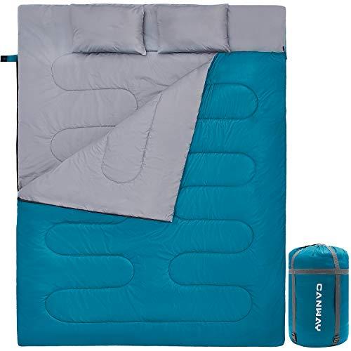 CANWAY Doppelschlafsack Deckenschlafsack 220 x 150cm für 2 Erwachsenen Sommerschlafsack mit 2 Gratis Kissen, eine Tragetasche für Outdoor Camping Wandern (Blau)
