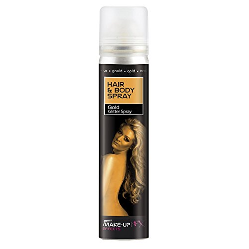 Smiffy's-37795 Spray para Pelo y Cuerpo, Dorado, Brillantina, envase 75ml, Color Oro, No es Applicable (37795)