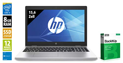 HP ProBook 650 G4 | Notebook | 15,6 Zoll | Intel Core i5-8350U @ 1,7 GHz | 8GB RAM | 250GB SSD | FHD (1920x1080) | Webcam | Windows 10 Home (Zertifiziert und Generalüberholt)