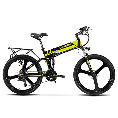 Cyrusher XF700 Electric Bike 400 Watt 21 Speeds Mountain Electric Bike with 36V 10.5ah Battery Folding Bike(Yellow)