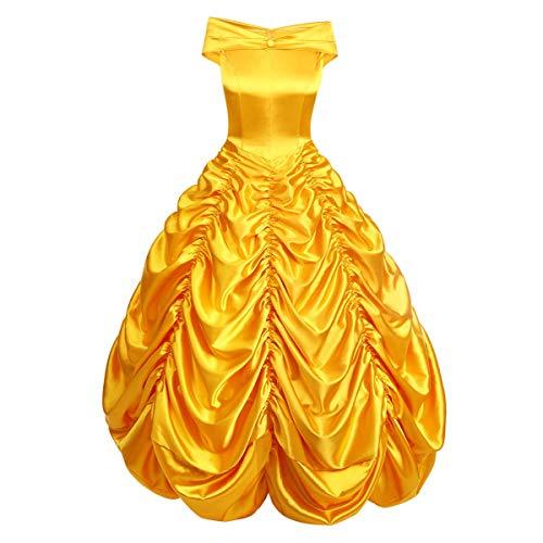 OwlFay Disfraz de Princesa Bella para Mujer La Bella y La Bestia Vestidos de Carnaval Halloween Cosplay Fiesta Costume Amarillo+Accesorios 2XL