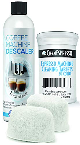 Espresso Cleaning Kit - 20 Espresso Machine Cleaning Tablets + 2 Water Filters + 2-Use Descaling Solution - Fits All Breville Espresso Maker Models - by CleanEspresso