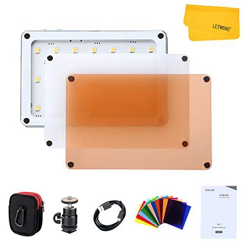 SOKANI X21 LED-Videolicht Dimmbarer 5600K-Bildschirm, eingebauter 1600-mAh-Akku, Aluminiumgehäuse in Flugzeugqualität mit Farbfilter für Videoaufnahmen, Außenaufnahmen usw.