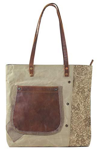 Bolso de compra señora Sunsa Vintage Bolso de hombro bolso de mano hecho de tela / tela con cuero 51671