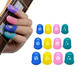 MusicOne 12Pcs Fingertip Protector Silicone Guitar String Finger Guard Against the Press Sore Finger Ballad Guitar Small Medium Large