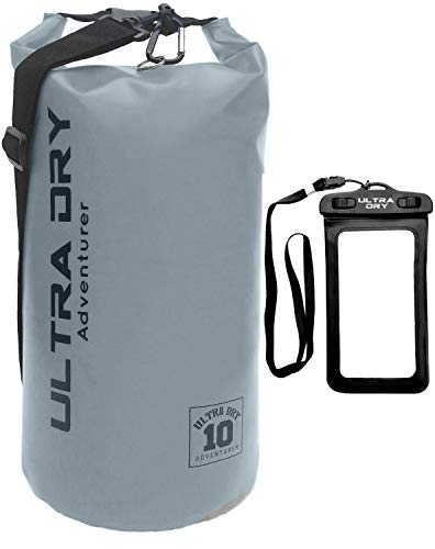Premium Waterproof Bag, Sack with phone dry bag and long adjustable Shoulder Strap Included, Perfect for Kayaking/Boating/Canoeing/Fishing/Rafting/Swimming/Camping/Snowboarding (gray, 20 L)