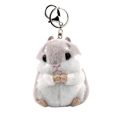 Gluckliy Cute Hamster Keyring Plush Pendant Keychain Car Key Ring Bag Handbag Charm, Grey