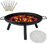 XLLQYY tragbare Feuerstelle Garten mit Marshmallow-Bräter-Set runde Eisen-Holz-Feuerschale mit Grillrost und Griffen leicht zu bewegen