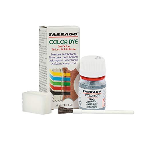 Tarrago | Colorante Auto Lucido 25 ml | Tintura autolucidante per scarpe e accessori | Copre sfregamenti e calzature Argento antico (502)