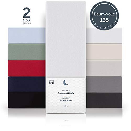Blumtal Basics 2er-Set Spannbettlaken 200 x 200 cm - 100% Baumwolle Bettlaken, bis 20cm Matratzenhöhe, Weiß