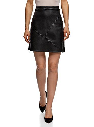 oodji Ultra Women's Faux Leather Trapeze Skirt, Blue, Small