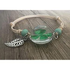 Armband echtes Kleeblatt 4-blättrig Glas-kugel mit Blatt-Anhänger Perlen handmade Schmuckphantasien handgemacht Geschenk…