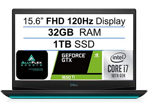 2021 Newest Flagship Dell G5 15 Gaming Laptop 15.6' FHD 120HZ Display, 10th Gen Intel 6-Core i7-10750H(UP to 5GHz), 32GB RAM, 1TB SSD, GTX1650Ti, Backlit Keyboard, HDMI, WiFi 6+AllyFlex MP