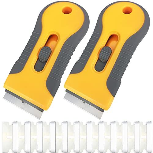 2Pcs Glass Razor Blade Scraper,Retractable Razor Scraper With 12Pcs Steel Scraper Blades for Removing Label,Multi-Purpose Plastic Cooktop Scraper Razor Cleaning Tool for Stickers Kitchen Stove Top