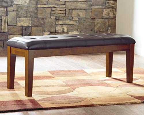 Signature Design by Ashley Ralene Tufted Upholstered Dining Room Bench, Medium Brown