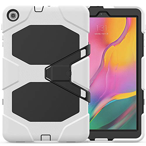 Strnry Case for Samsung Galaxy Tab A 8.0 Case 2019 SM-T290/T295, Hybrid Shockproof Rugged Drop Protection Cover Built with Kickstand, for Galaxy Tab A 8.0 2019,White