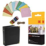 Kodak- Papel fotográfico Kodak Premium ZINK de 2' x 3' (50 hojas) + Marcos de fotos cuadrados y coloridos para colgar + Álbum de fotos (Compatible con Kodak Printomatic)