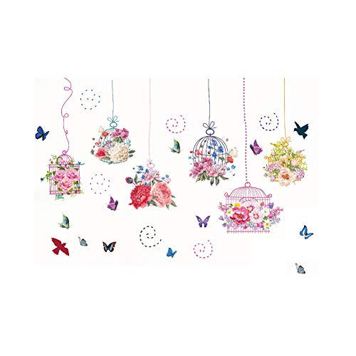 Colorful Pink Bird Cage Flower Wall Sticker Decal for Home Living Room Kitchen Bedroom Decor